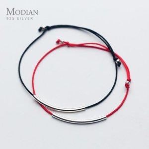 Modian Simple 2 Color Cuerda Anklet para Mujeres Genuine 925 Pulsera de plata esterlina Pie Tobillo Estilo étnico Moda Joyería Fina Tobilleras