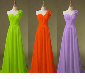 Cheap One Shoulder Chiffon Honor of Maid Dresses A line Black Red Lime Blue Yellow Lilac Bridesmaid Evening Party Gowns 2019 In Stock