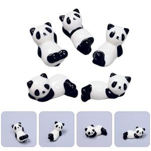 5Pcs Panda Chopsticks Rest Ceramic Flatware Holder Storage Rack (Random Style)