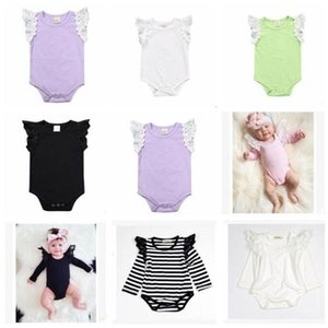 Kids Designer Clothes Baby Summer Rompers Girls Striped Cotton Jumpsuits Newborn Lace Fly sleeve Romper Infant Bodysuits Climb Suit C603