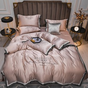 2021 Hot-selling Silk Bedding Sets 4 Pcs Solid Bed Suit Qulit Cover Designer Bedding Supplies 10 Colors 436 V2