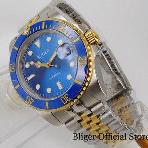 Homens azuis relógios de pulso NH35 Movimento Miyota 8215 Ouro revestido de aço inoxidável de aço inoxidável de dois tons pulseira de pulseira de pulseira de jubileu