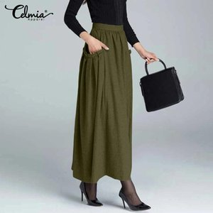 Skirts Women's Maxi 2021 Fashion High Waist Zipper Pleated Long Skirt Celmia Autumn Winter Casual Knitted Party