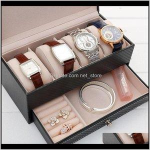 Косметические сумки Case Portable DoubleLayer Ювелирные изделия Ящик для хранения с 4SLOT Watch 1 ШТ. TQETU NXPTJ