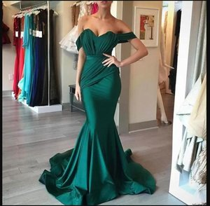 Elegant Dark Green Plus Size Off Shoulder Mermaid Prom Dresses Satin Floor Length Evening Gowns For Women Special Occassion Dress robe de soiree