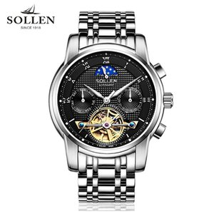 Mens Tourbillon Otomatik Mekanik Saatler Ay Aşamaları Erkekler En İyi İş Tam Çelik Clcok Relojes Saatı