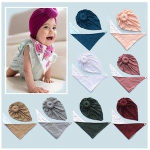 Baby Infant Hat and Triangle Bibs Newborn Solid Color Feeding Scarf Saliva Towel Bandana Burp Cloths Boy Girl