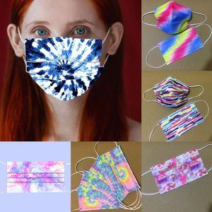 Tie-Dye Adult 3 Layer Cartoon Disposable Mask Party Men Women 95% Filtration Efficiency Dustproof Prevention of Influenza Face Masks