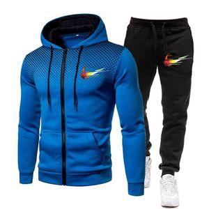 Brand Clothing Men's Fashion Tracksuit Casual Sportsuit Men Hoodies Sweatshirts Sportswear High Quality Coat+Pant Set