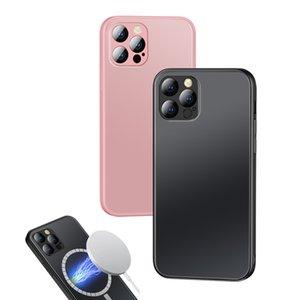 Магнитные матовые матовые шкафы для iPhone 11 12 Pro Max 12Mini Anti-Fingerprint поддержка Magsafing Беспроводная зарядная задняя крышка