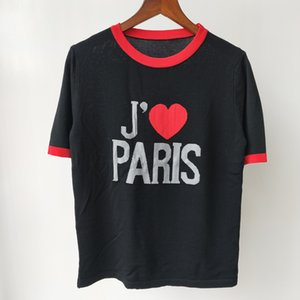 Shipping Free 2021 Autumn Black Letter Embroidery Autumn Women's T-shirt Brand Same Style Women's T-shirt DH376