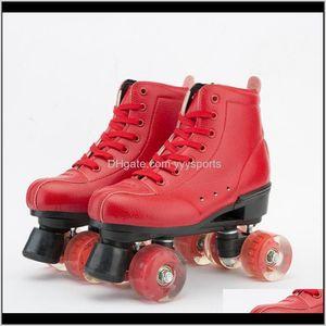 Inline Action Sports Im Freien Tropfen Lieferung 2021 Leder Roller Doppelschuhe Rote Frauen Dame Erwachsene Rollen PU 4 Räder Zwei Line Skating Schuhe