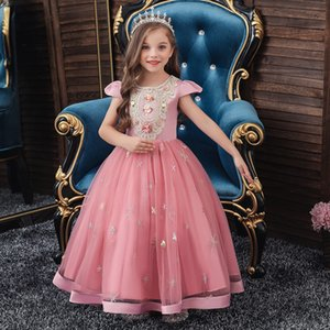 Princess Flower Girl Dresses Hand Made Floral Bling Star Sleeveless Pageant Gowns Ruched Tulle Birthday Gown