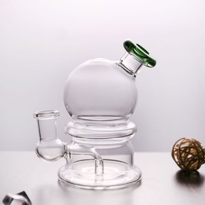 Water Pipe oil rig with bowl 14.4mm joint dab rig beaker bongs with green hole for smoking glass bong