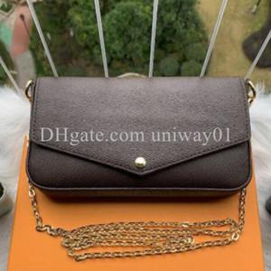 여성 핸드백 가방 클러치 지갑 원래 상자 날짜 코드 일련 번호 저녁 크로스 바디 숄더 체인 3 in 1