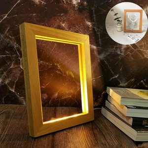 Table Lamps Usb Wooden Lamp Creative Square Wood Po Frame With Led Lights Bedroom 3D Night Light Home Decor Ornaments