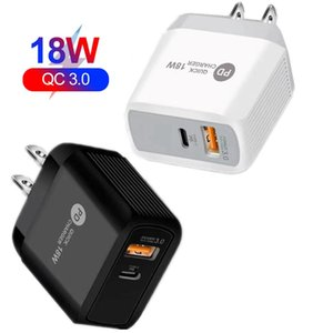 Dual-USB-Anschlüsse QC3.0 Schnellladung 18W Typ C PD-Wandladegerät EU US UK Adapter für iPhone Samsung HTC PC Android Phone