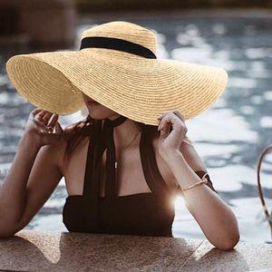 Wide Brim Beach Sun Hat 2020 Women Stylish Foldable Straw Cap Protection Large Cover Anti-UV Sun Big Hats Summer Bucket Chapeau
