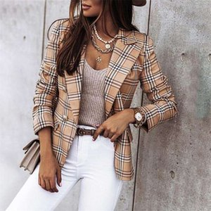 Plaid Blazer Jacket Women Spring Autumn Long Sleeve Casual Slim Thin Blazers Khaki Woman Coats Elegant Office Suit Coat 210929