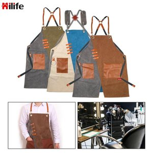 Multi-Function Adjustable Unisex Work Apron Canvas With Tool Pockets Cross-Back Straps Aprons