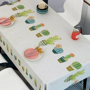 Table Cloth Cactus Printed Tablecloth Cartoon Waterproof Rectangular Kitchen Picnic Mat Cover Home Decoration