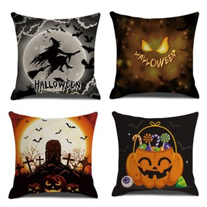 """Linen Halloween Throw Pillows Decorative, Farmhouse Pillow case for Bed room, Couch Cushion Covers Gifts No Pillow Insert 18"""" set of 4"""