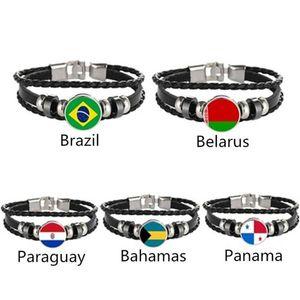 Charm Bracelets Brazil Belarus Paraguay Bahamas Panama Flag Multilayer Leather Bracelet Fashion Men And Women Jewelry
