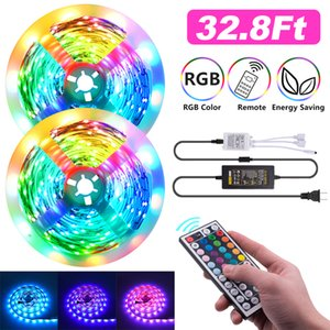 USA Stock RGB LED Strips 16.4Ft 32.8Ft 5050 Strip lights 5M 10M 30LEDs M With 44Key Remote Control