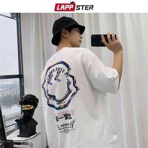 Lappster Men Streetwear Smile Cotton T Shirts Verano Hombre Hip Hop Harajuku T-shirts Masculino Coreano Vintage Tops de gran tamaño 210329