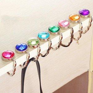 Mesa de metal redondo Hangers Hoja de ganchos Plegable Moda Desk Bolso Hook Hook Crystal Alloy monedero bolsa colgando BWB6949