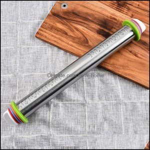 Bakeware Kitchen, Dining Bar Home Garden17Inch Adjustable Steel Rolling Pin With Roller Dough Rings Removable 4 Mat Thickness A9H1 Pins & Pa