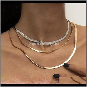 Necklaces & Pendants Drop Delivery 2021 European Multi Layer Flat Snake Chains Simple Tassel Gold Sier Mix Necklace Women Punk Geometric Bras