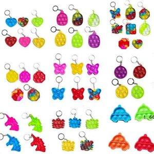 Fidget Simple Dimple Toy Kids Mini Llavero Pop It Push Poo Su Burbuja Sensor Juguetes Llavero Dibujos animados Arco iris Tie-Dye Finger Cadenas EWF6463