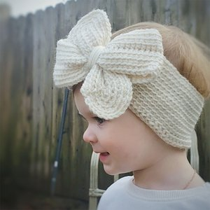 Free DHL Fashion Big Bow knitted Headband Hair Accessories For Baby Girls Lovely Sweet Headbands Newborn kids Hairbands Toddler Turban Head Wrap Children
