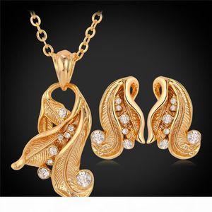 18K Real Gold Plated Pendant Earrings Choker Jewelry Sets In Rhinestone CZ,New Vintage Style Design Jewellery Women YS3036