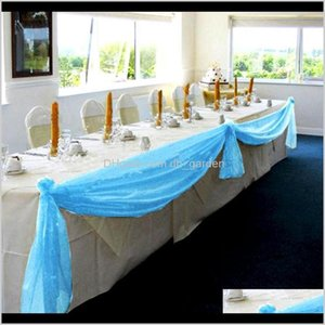 Event Festive Supplies Home Garden Drop Delivery 2021 1Dot4M Organza Table Runners Banquet Chair Bow 6 Colors Diy Wedding Party Decoration Ca