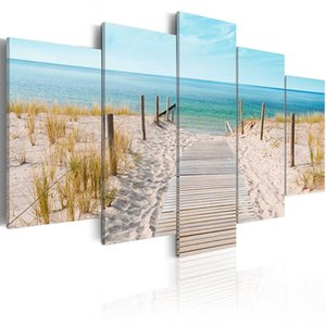 Unframed 5pcs Modern Landscape Wall Art Home Decoration Painting Canvas Prints Pictures Sea Scenery With Beach ( No Frame ) 625 S2