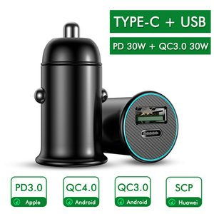 Car Charger with Luminous PD3.0 30W Mini Full Metal Dual QC 3.0 USB Fast Charging Type C Quick Charge for Mobile Phone