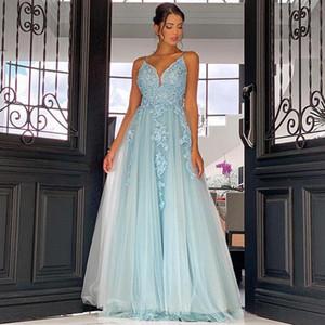 Handmade кружева аппликация тюль длинные платья выпускного вечера спагетти v декольте коктейль вечеринка невесты платья открытые назад сексуальные вечерние женщины носить