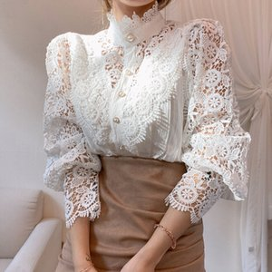 Tops For Women Petal Sleeve Stand Collar Hollow Out Flower Lace Patchwork Shirt Femme Blusas Blouse Chic Button White Top