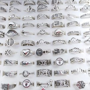 50pcs lot Vintage Antique Silver Color Band Metal Open Adjustable Love Rings For Women Mix Style Fashion Party Gifts Jewelry Wholesale