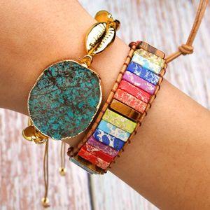 Chakra Colorful Natural Stone Woven Bracelet Adjustable Ethnic Style Leather Creative Gifts Bangle