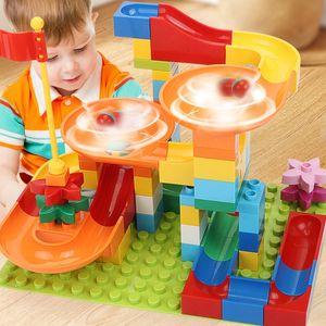 Мраморная гонка Run Run Maze Ball Track Строительные блоки DIY Воронка Слайд Большой Размер Лабиринт Шарики Кирпичи Совместимые Бренды Блокировка Игрушки для детей