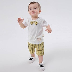 Baby Clothing Sets Boys Suits Boys Clothes Infant Outfits Summer Cotton Short Sleeve Ties T-shirts Tops Shorts Pants 2Pcs B4696