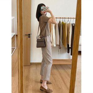 Kadın Pantolon Capris 2021 Bahar ve Yaz Boyutu Duman Boru Takım Elbise Kadın Gevşek Yüksek Bel Retro Koni Dokuz Düz