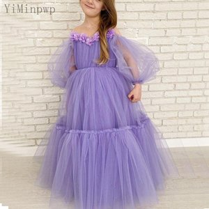 Lavender Girls Pageant Dresses Sheer Neck Long Sleeve Floor Length A Line 3D Floral Beads Child Birthday Party Gowns Kids Formal Dress Flower Girl Dress for Wedding