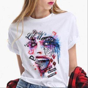 Womens T Shirt Suicide Squad Wild Harley Quinn Graffiti Women Casual Retro Street Clothing Halloween Skull Tee