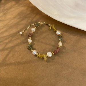 Link, Chain Color Stone Bracelet Sen Department Small Fresh Natural Freshwater Pearl Beaded