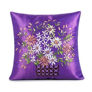Pillow Case Silk simple ribbon embroidered sofa car office nap climb waist pillow by contracting pastoral American stylePillow MU3G