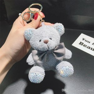 Cute Plush Teddy Sitting Position Bear Keychain Flash Diamond Doll Car Key Chain Ring Ladies Bag Pendant Cute Keychain